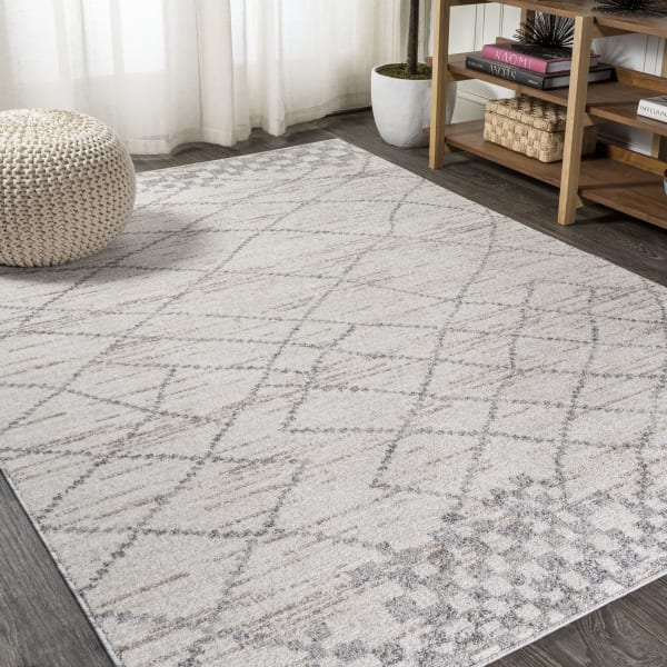Moroccan Modern Diamond Light Gray Area Rug