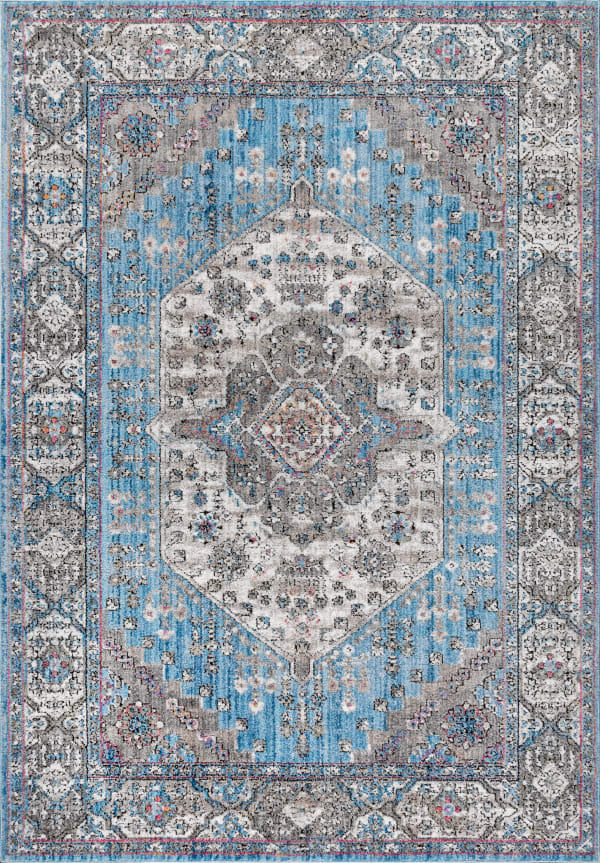 Kesan Vintage Medallion Turquoise/Grey 3 ft. x 5 ft. Area Rug
