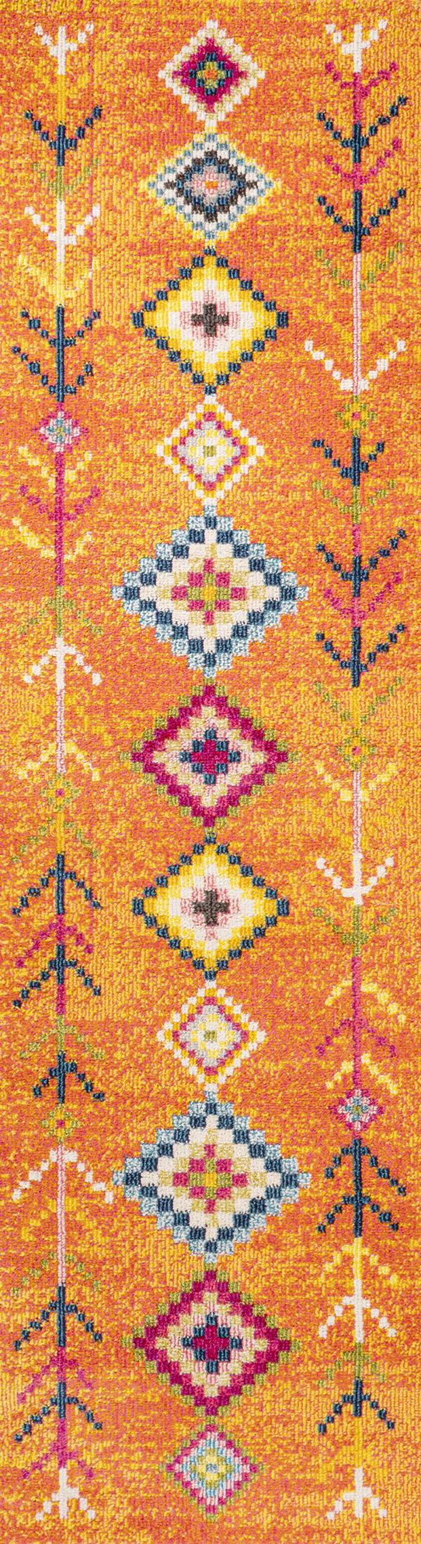 Tribal Love Geometric Orange/Multi Runner Rug