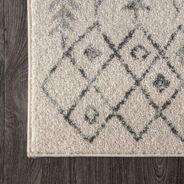 Moroccan Geometric Cream/Gray Runner Rug