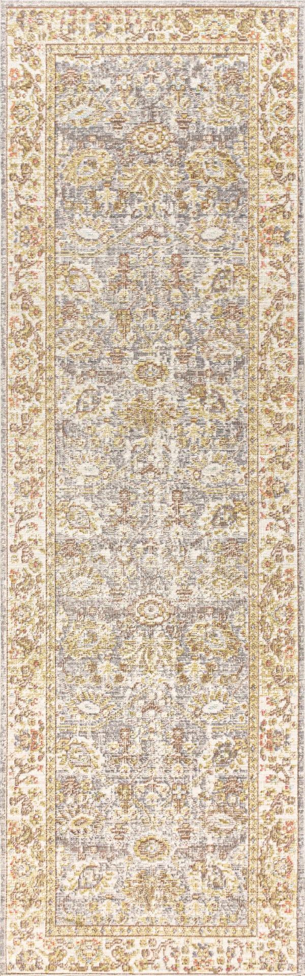 Alba Modern Faded Peshawar Gray/Ivory 2 ft. x 8 ft. Runner Rug