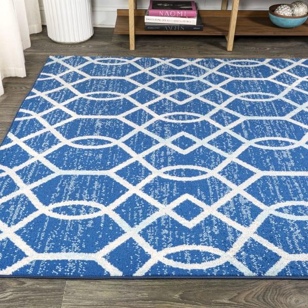 Asilah Ogee Fretwork Blue/Gray 3 ft. x 5 ft. Area Rug