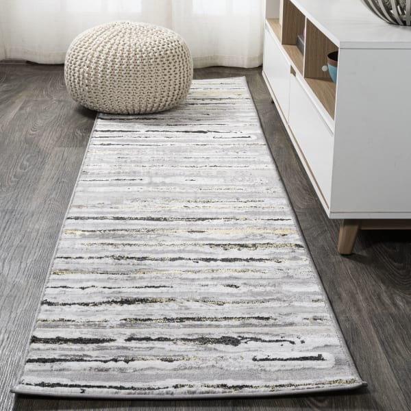 Batten Modern Stripe Gray/Black Runner Rug