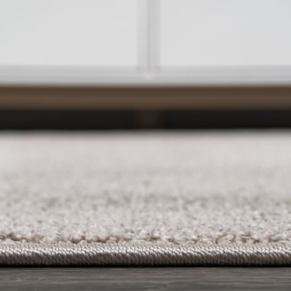 Haze Solid Low-Pile Beige Runner Rug