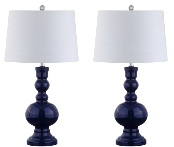 Glass LED Table Lamp, Navy (Set of 2)