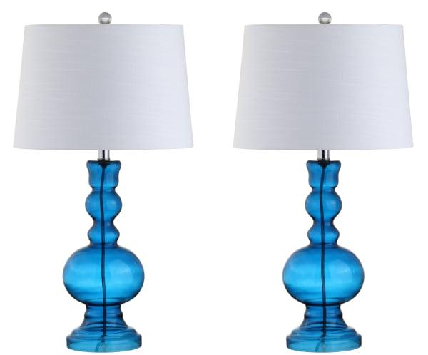 Glass LED Table Lamp, Night Blue (Set of 2)
