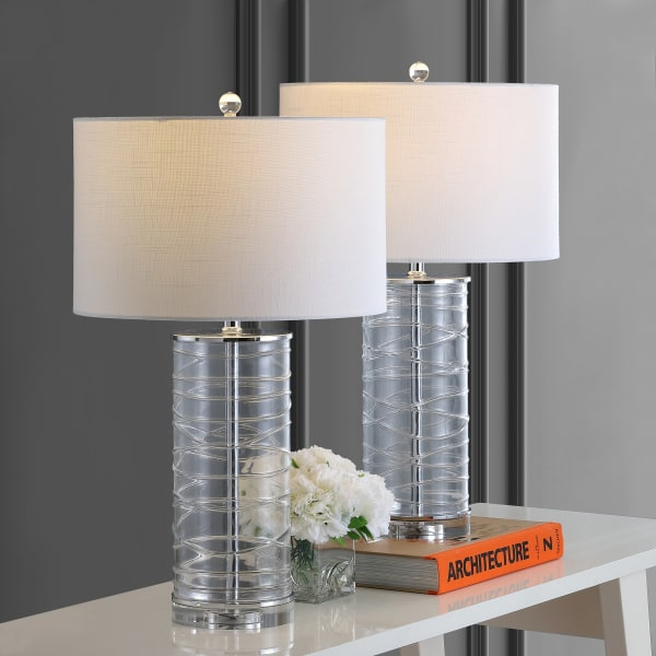 Modern Fused Glass Cylinder LED Table Lamp, Clear (Set of 2)
