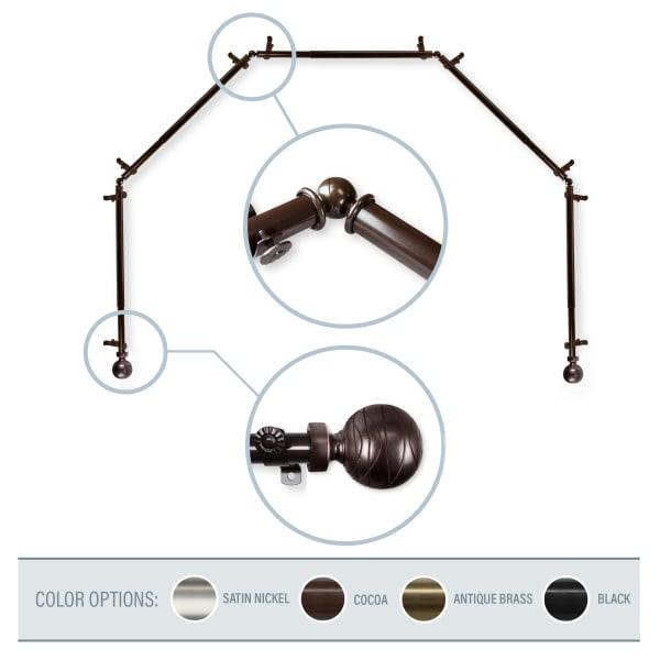 Arman Cocoa 5-Sided Bay Window Curtain Rod