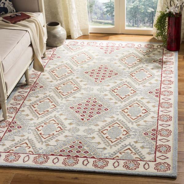 Essence 511 5' X 5' Square Ivory Wool Rug