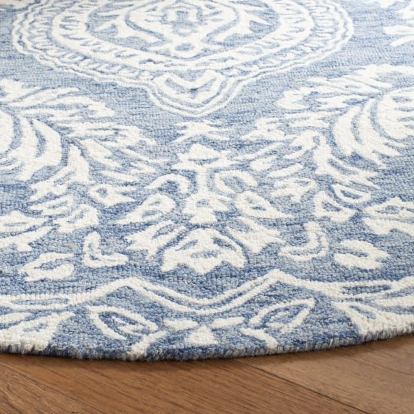 Essence 512 5' X 5' Round Blue Wool Rug