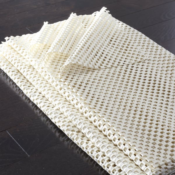 Grid Pad 6' X 9' White Polyester Rug