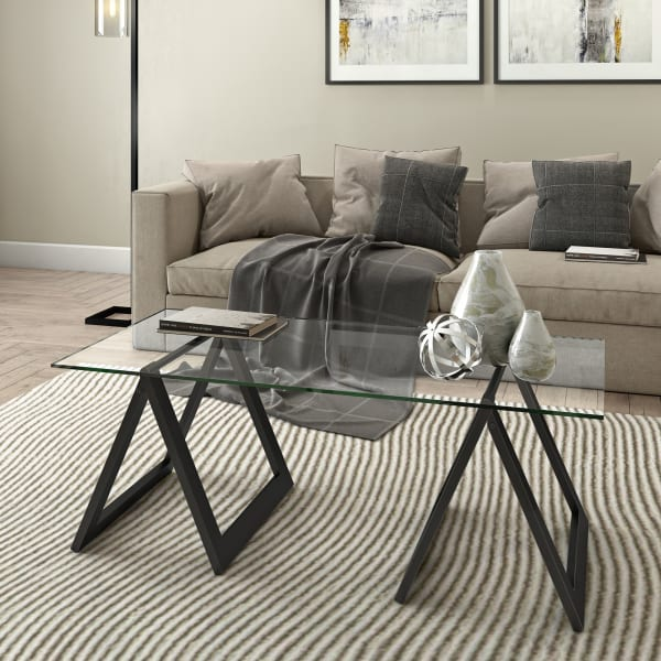 Macrae Espresso Glass Top Coffee Table