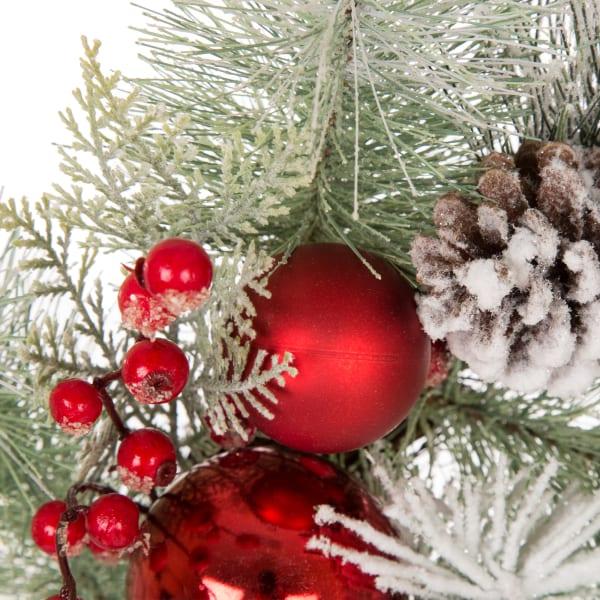 Flocked Pinecone & Ornament Wreath