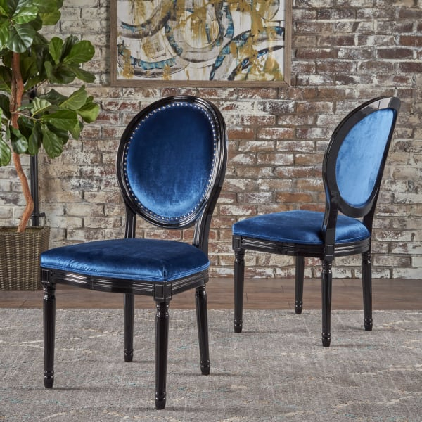 Navy & Black Dining Chairs Set of 2