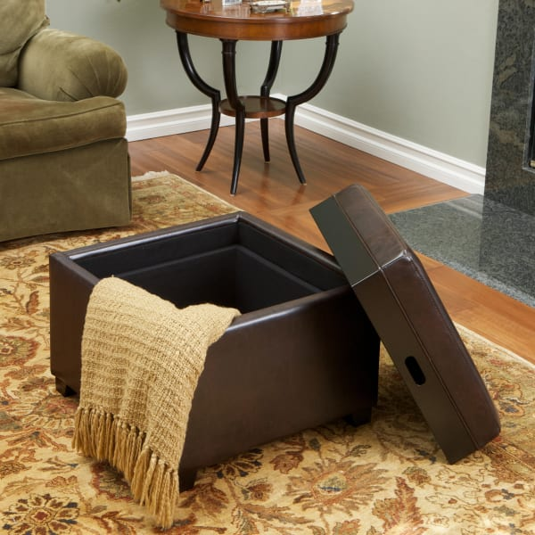 Brown Tray Top Storage Ottoman