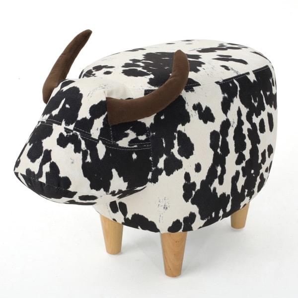 Kids Black Velvet Cow Ottoman