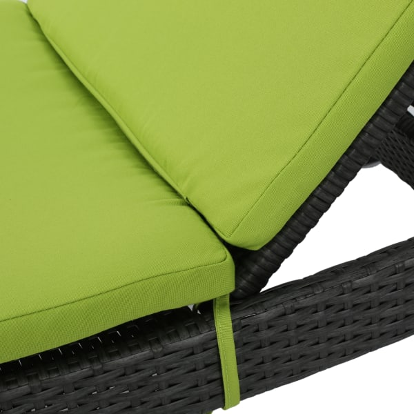 Gray Chaise Lounge & Green Cushion