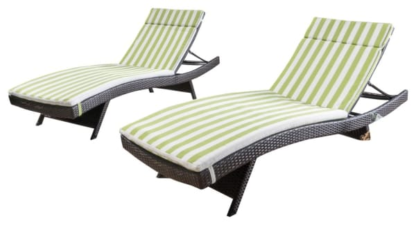 Carlsbad Brown Wicker Chaise Lounge with Green & White Stripe Cushion Set of 2