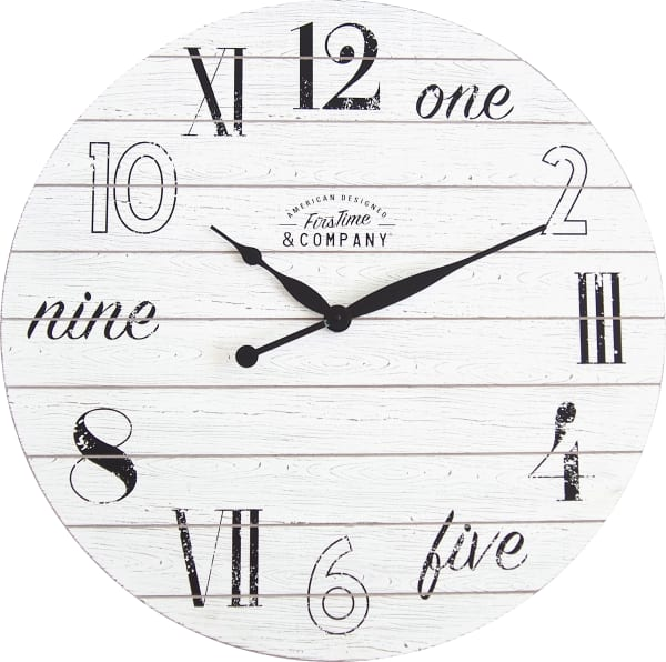 Shiplap Chic Aged White Wall Clock