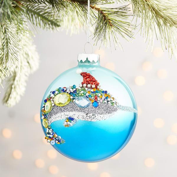 Blue Jeweled Dolphin Ornament