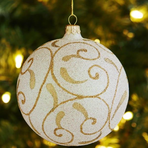 European Glass Swirl Ornament - Champagne