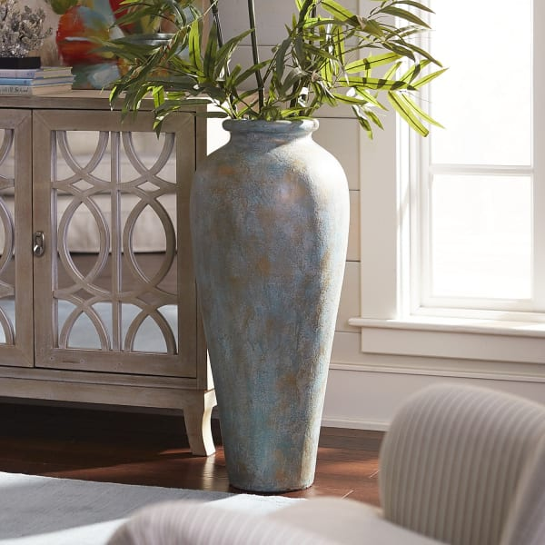 Blue & Green Patina Urn Floor Vase