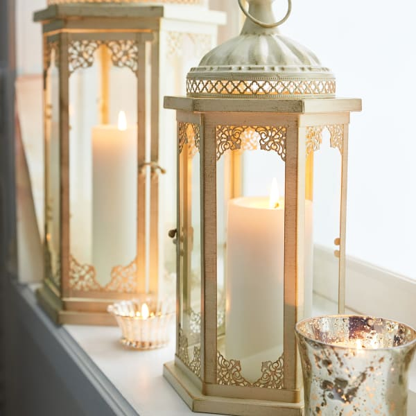 Cathedral Lace Small White Metal Lantern