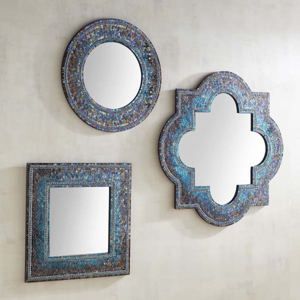 Midnight Quatrefoil 36x36 Mirror