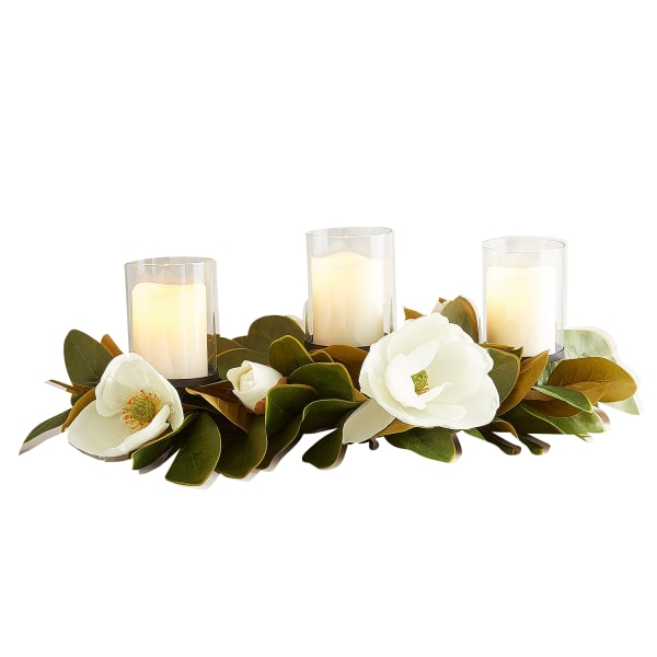 Faux Magnolia Centerpiece Candle Holder