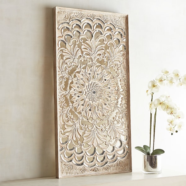 Medallion Carved Whitewashed Panel