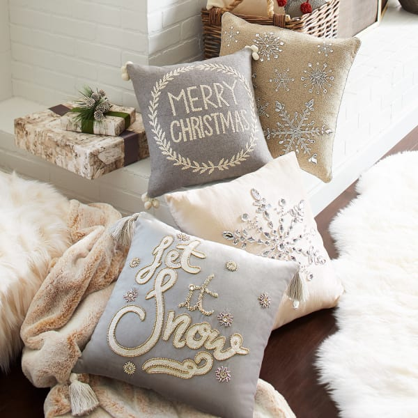Natural Pillow with Silver Snowflakes