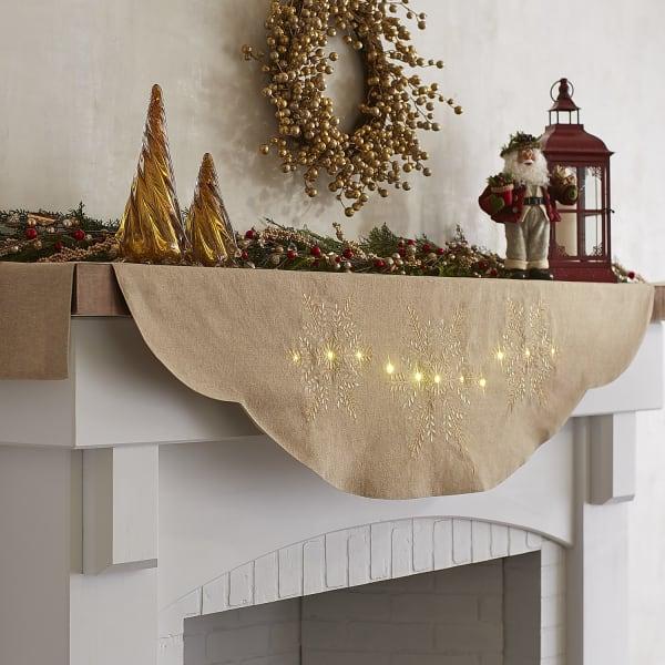 LED Light-Up Snowflake Mantel Scarf
