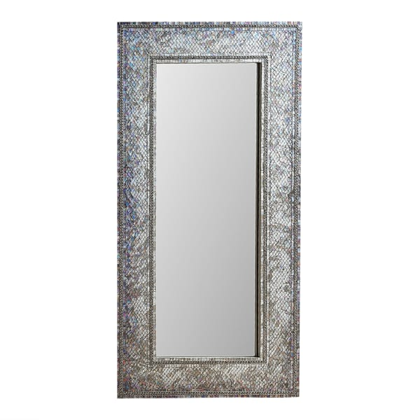 Gray Mosaic Floor Mirror