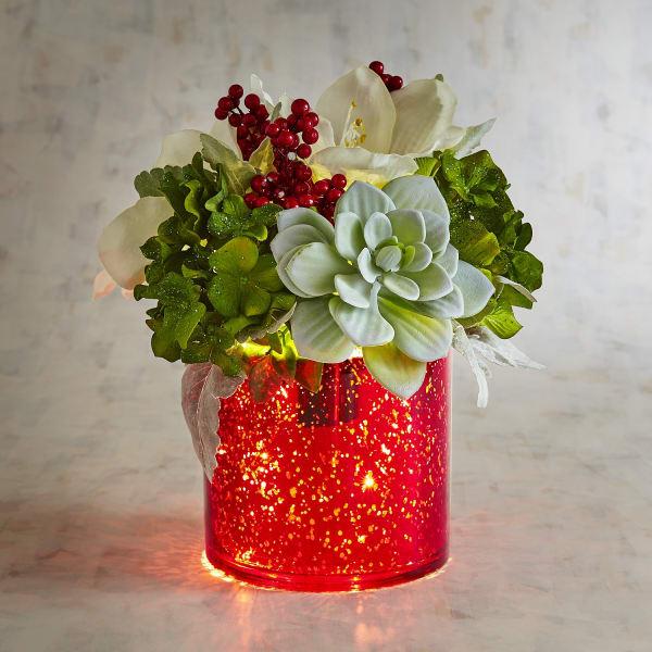 LED Pre-Lit Faux Hydrangea & Succulent Arrangement