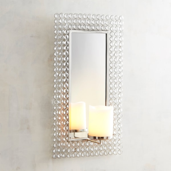 Crystal Rectangular Candle Wall Sconce