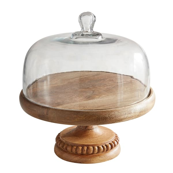 Wooden Cake Stand with Dome