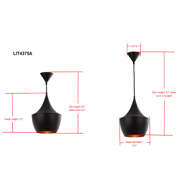 Black & Gold Tall Modern Pendant Light