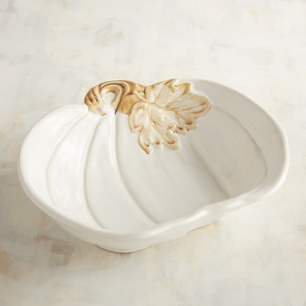 White Pumpkin Serving Bowl