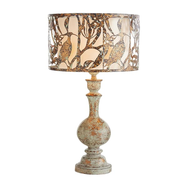 Rustic Table Lamp with Cutout Metal Shade