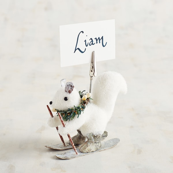 Snowy Squirrel Place Card Holder