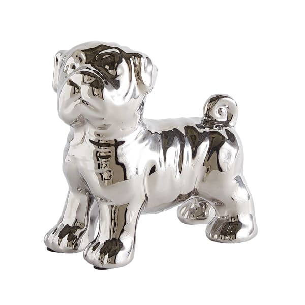 Silver Ceramic Pug Figurine