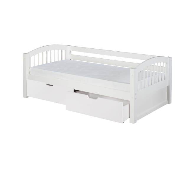 Arch Spindle Twin White Day Bed with Drawers