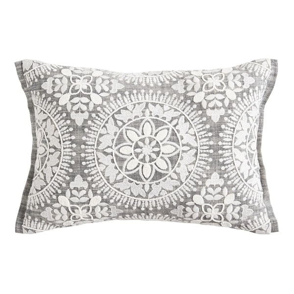 Embroidered White Medallion Lumbar Pillow