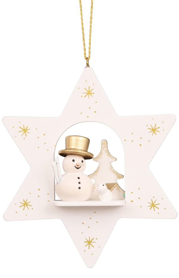 Christian Ulbricht Ornament - White Star With Snowman