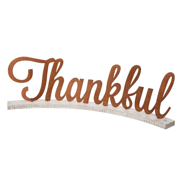 Fall Wooden and Metal Thankful Decor