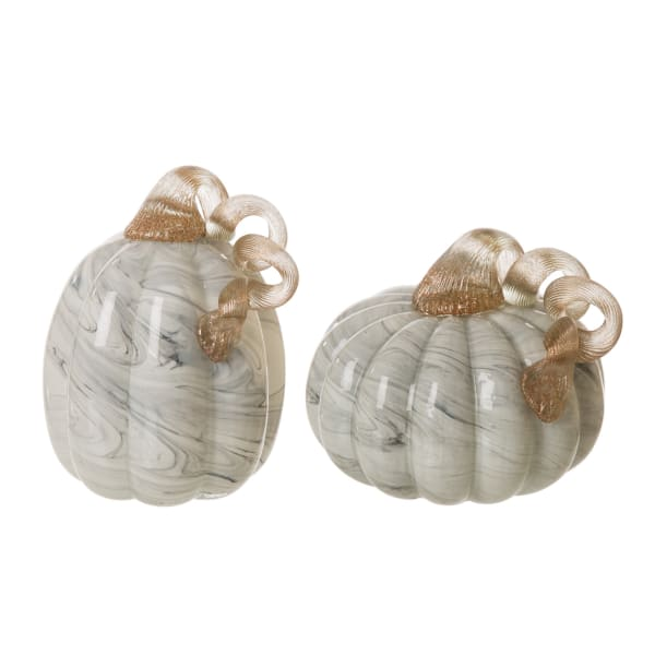 Set of 2 Gray Marble Glass Pumpkin