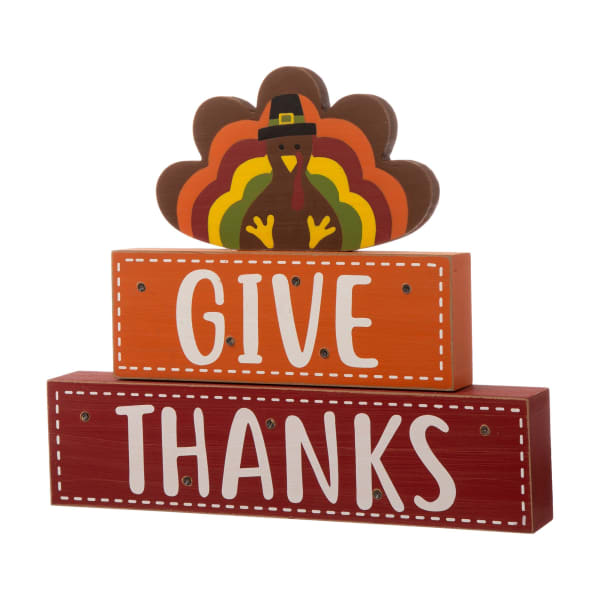 Thanksgiving Wooden Lighted Turkey and Word Block Table Decor