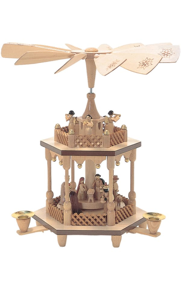 Richard Glaesser Pyramid - 2 tiers Nativity Scene and Angel Musicians