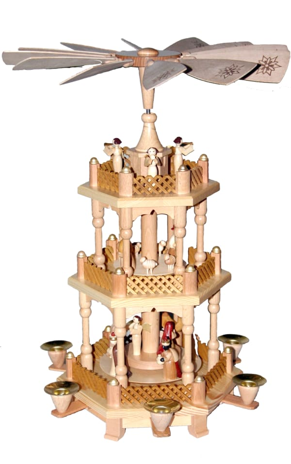 Richard Glaesser Pyramid - 3 tiers - Nativity Scene. Wise men, Shepherds and Angels
