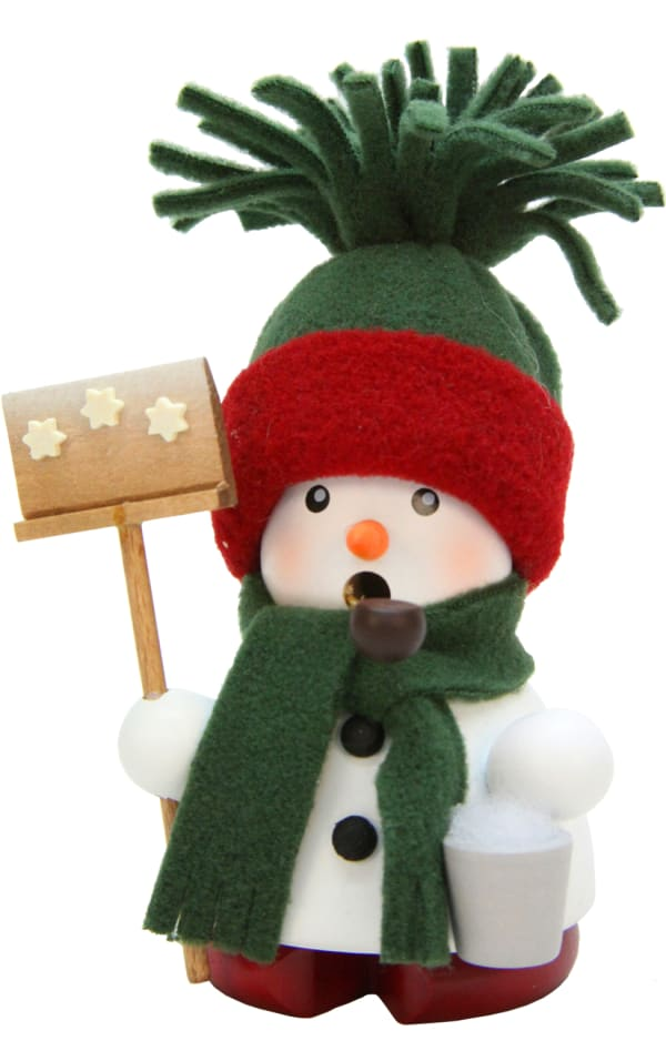 Christian Ulbricht Incense Burner - Snowman with Green Hat/Scarf